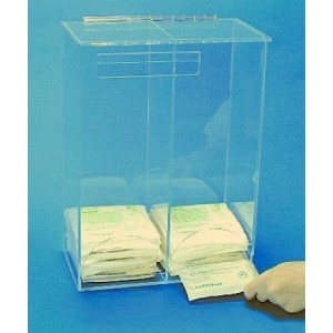 """S-Curve CH-12 Cleanroom Sterile Glove Dispenser For Packaged Gloves 11""""Wx16""""Hx6.3""""Dx 1/4""""Thick Clear Acrylic 2-Compartment With Front Openings & Sloping Hinged Lid"""