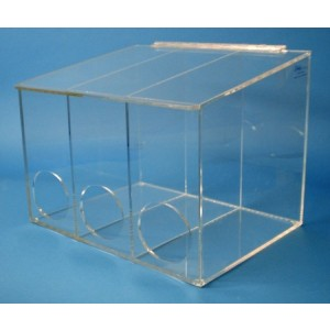 """S-Curve Cleanroom Glove Dispenser 16""""Wx12""""Hx12""""Dx 1/4""""Thick Clear Acrylic 3-Compartment With Front Openings & Sloping Lid"""