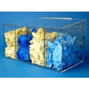 "S-Curve Cleanroom Glove Dispenser 20""Wx12""Hx12""Dx 1/4""Thick Clear Acrylic 4-Compartment With Sloping Lid"