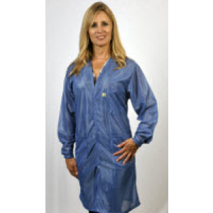 "Tech Wear Traditional ESD-Safe V-Neck 38""L Coat OFX-100 Color: Hi-Tech Blue Size: Medium"