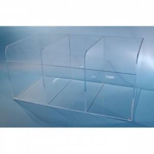 "S-Curve Cleanroom Multi-Use Extra Large Dispenser 25""x11.5""x13""Dx1/4"" Thick Clear Acrylic 3-Compartment Open Top"