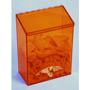"S-Curve Cleanroom Multi-Use Dispenser 12""Wx16""Hx6""Dx 1/4""Thick Amber Acrylic 1-Compartment With Front Opening & Sloped Lid"