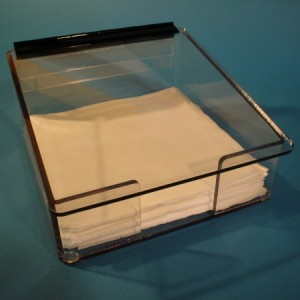 "S-Curve Cleanroom Table Top Mid-Sized Wiper Dispenser 12.5""Wx5.25""Hx12.5""Dx1/4""Thick Clear High Impact PETG Material For 12""x12"" Wipes With Front Access & Lid"
