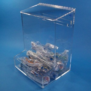 """S-Curve Cleanroom Ear Plug Dispenser 12""""Wx16""""Hx9""""Dx1/4""""Thick Clear Acrylic With  Open Tray & Hinged Lid"""