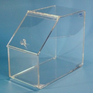 """S-Curve Cleanroom """"Apothecary Jar"""" Dispenser 7""""Wx13""""Hx11""""Dx1/4""""Thick Clear Acrylic With Hinged Lid & Handle"""