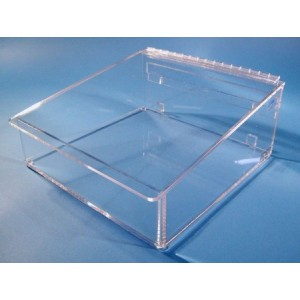 """S-Curve Cleanroom Table Top Wiper Dispenser 9.5""""Wx3""""Hx9.5""""Dx1/4""""Thick Clear High Impact PETG Material For 9""""x9"""" Wipes With Closed Front & Lid"""