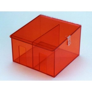 """S-Curve Cleanroom Hand Specific Glove Dispenser 12""""Wx8""""Hx15""""Dx1/4""""Thick Amber Acrylic 2-Compartment With Sloped Lid"""