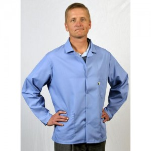 "Tech Wear Nylostat ESD-Safe 30""L Jacket Cotton/Poly Woven Color: Nasa Blue Size: Large"