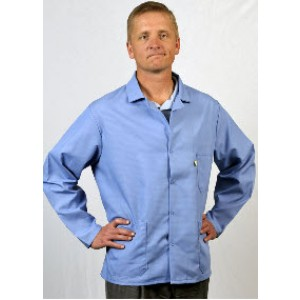 "Tech Wear Nylostat ESD-Safe 31""L Jacket Cotton/Poly Woven Color: Nasa Blue Size: 2X-Large"