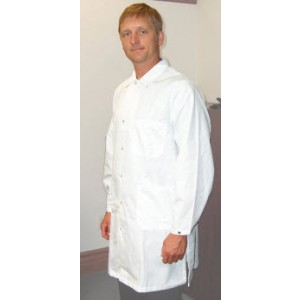 """Tech Wear Nylostat ESD-Safe 40""""L Coat Cotton/Poly Woven Color: White  Size: X-Small"""