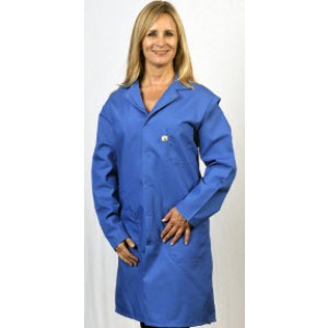 "Tech Wear Nylostat ESD-Safe 40""L Coat Cotton/Poly Woven Color: Blue Size:  Medium"