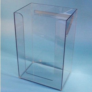 """S-Curve Cleanroom Bulk Apparel Dispenser 15.5""""W x 24""""H x 10.5""""Dx1/4"""" Clear Acrylic 1-Compartment Open Front With Heavy Duty Wall Bracket + Support Bar"""