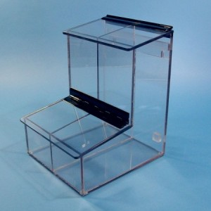 """S-Curve Cleanroom 2-Compartment Dispenser 8""""Wx12""""Hx9.25""""Dx 1/4""""Thick Clear Acrylic For Finger Cots, Ear Plugs, Etc, With Access Tray & Hinged Lid"""