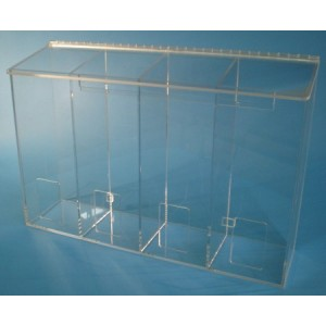 "S-Curve Cleanroom Multi-Use Dispenser 24""Wx16""Hx6""Dx 1/4""Thick Clear Acrylic 4-Compartment With Front Opening & Sloped Lid"