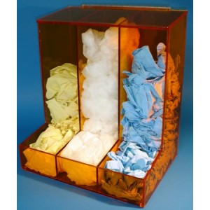 """S-Curve Cleanroom Glove Dispenser 16""""Wx18""""Hx12""""Dx 1/4""""Thick Amber/Clear Acrylic 3-Compartment With Open Front AccessTray & Heavy Duty Mounting Bracket"""