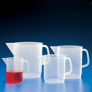 Globe Scientific 601157 Beaker Short Form With Handle 1000mL Polypropylene With Molded Graduations 48/Pack