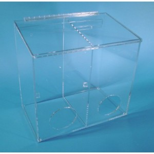 "S-Curve Cleanroom Medium Sized Multi-Use Dispenser 15""Wx14""Hx9""Dx 1/4""Thick Clear Acrylic 2-Compartment With Front Opening & Sloped Lid"