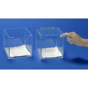 "S-Curve Cleanroom Table Top Wiper Dispenser 5.5""Wx5.5""Hx5.5""Dx1/4""Thick Clear High Impact PETG Material For 5""x5"" Wipes With Open Top & Front Access 2/Case"