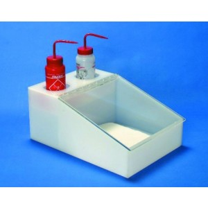 "S-Curve Cleanroom Bottle/Wiper Dispenser 9.5""Wx8""Hx15""Dx1/4""Thick Acrylic White Base/Clear Top, Holds 2 Bottles & 9""x9"" Wipes"