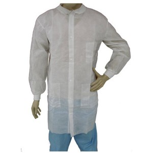 Epic Cleanroom Disposable Lab Coat Polypropylene, Snap Front, Knit Wrist & Collar, 3 Pockets Color: White Size: 3X-Large 50/Case