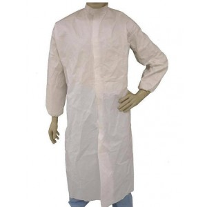 Epic Cleanroom Disposable Smock ESD-Safe Microporous Coated , Snap Front, Elastic Wrist, Snap Mandarin Collar, No Pocket Color: White Size: Large 30/Case