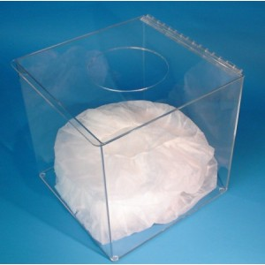 "S-Curve Cleanroom ""Flat Packed"" Bouffant Dispenser 12""Wx12""Hx8""Dx 1/8""Thick Clear Acrylic 1-Compartment With Top Opening"