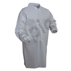 Epic Cleanroom High Performance Disposable Lab Coat Polyethylene Co-Polymer Laminated, Snap Front, No Pockets Color: White