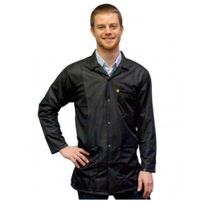 JKC9028 SPBK Transforming Technologies JKC 9028SPBK ESD - Traditional Lab Jacket, ESD Snap wrist, Color: Black, Size:4X- Large