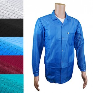 JKC9010 Series Transforming Technologies JKC 9025SPWH ESD - Traditional Collared Lab Jacket, ESD, Snap Cuff Wrist,