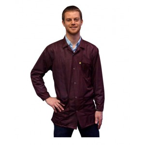 JKC9023SPMR Transforming Technologies JKC9023SPMR ESD - Traditional Collared Lab Jacket, ESD,Snap Wrist, Color: Maroon, Size: Medium