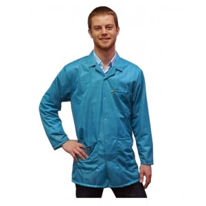 Transforming Technologies JKC 9025SPTL ESD - Traditional Lab Jacket, ESD Snap Cuff Wrist, Color: Teal, Size:X- Large
