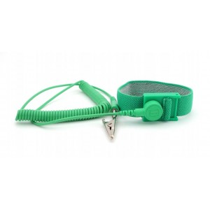 "Botron Wrist Strap Set Green Fabric Adjustable With 12' Cord 1/8"" (4mm) Snap"