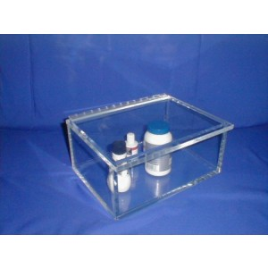 "S-Curve Cleanroom Storage Container 11""x5""x8""Dx3/8"" Thick  Clear Acrylic With Lid"