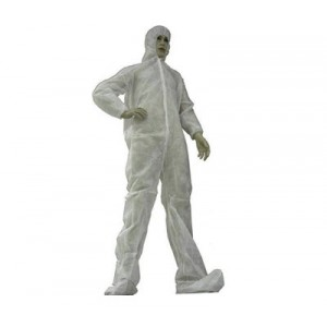 T200881-L-Epic-Tians Cleanroom Polypropylene White Coveralls Zip Front W/Hood & Boots, Elastic Wrists White Size: Large 25/Case 200881-L