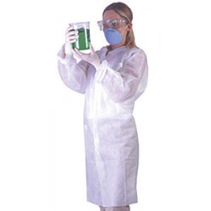 Ultraguard Frock Cleanroom Mandarin Collar, Elastic Wrist, No Pockets Disposable 3-Layer Anti-Static Coated Advantage Pro