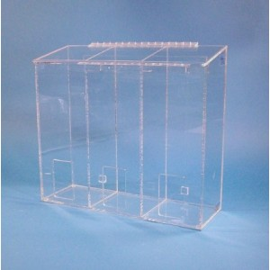 """S-Curve Cleanroom Multi-Use Dispenser 18""""Wx16""""Hx6""""Dx 1/4""""Thick Clear Acrylic 3-Compartment With Front Opening & Sloped Lid"""