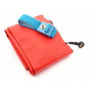"B1715 Botron Dissipative Pocket Field Service Kit  15""x20"" Vinyl, W/Wrist Strap Set & Ground Cord Color: Red"