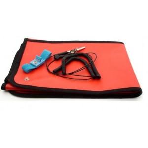 "B1724 Botron Dissipative Field Service Kit 24""x24"" 2-Pocket, W/Wrist Strap Set & Ground Cord Color: Red"