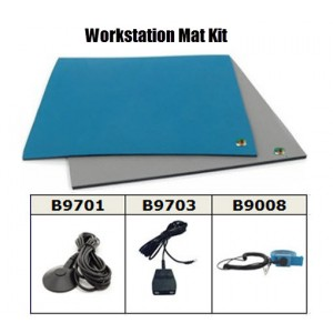 "B6123KIT Botron Workstation Mat Kit Type T2 Rubber 2-Layer 24""x36""x.060 Includes: 3'x5' Gray Dissipative Rubber Floor Mat,<br> Wrist Strap Set & Grounding Color: Blue"