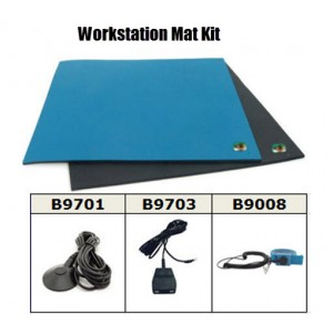B6124CKIT Botron Workstation Mat Kit Type T2 with Table Mat (2' x 4' Blue), Floor Mat (3' x 5' Black) with Grounding Hardware and Blue Wrist Strap