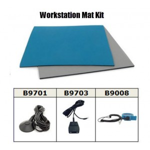 "B6124KIT Botron Workstation Mat Kit Type T2  Rubber  2-Layer  24""x48""x.060 Includes: 3'x5' Gray Dissipative Rubber Floor Mat, Wrist Strap Set  & Grounding Color: Blue"