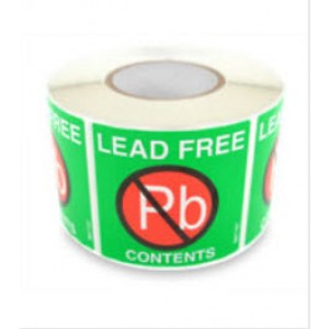 "B67101 Botron 2""x2"" Lead-Free Warning Label Green/Red/White"