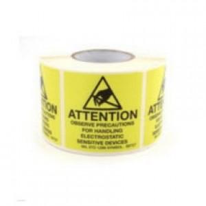 "B6727 Botron 2""x2"" Attention Label Mil-Std 129 Yellow/Black 500/Roll"