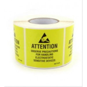 "B6735R Botron 2""x2"" Attention Label JEDC Reusable Yellow/Black RS-471500/Roll"