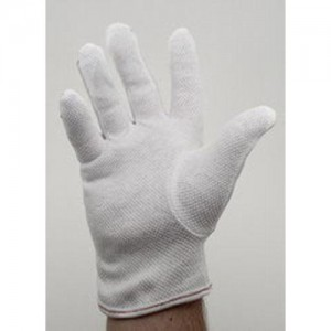 """Botron Dissipative 9"""" Gloves With PVC Dotted Palm Size Large Color: White 10Pr/Pack"""