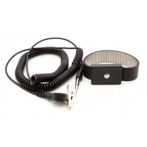 "B9478 Botron Wrist Strap Dual Conductor Black Metal Adjustable 1/8"" (4mm) Snap 6' Coil Cord"
