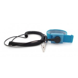 """B9608 Botron Wrist Strap Set Light Blue Fabric Adjustable With 1/8"""" (4mm) Snap with 6' Coil Cord"""
