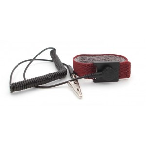 "B96128 Botron Wrist Strap Set Burgundy Fabric Adjustable With 1/8"" (4mm) Snap with 12' Coil Cord"