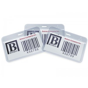 "Botron ESD-Safe ID Card Holder Anti-Static 4""x2-1/4""+1/4"" Header Horizontal With Clip 200/Pack"