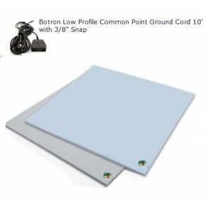 "B4124 Botron Type Z 3-Layer Vinyl Worktop Mat 24""x48""x0.120"" Includes 3/8"" Female Snap & Common Point Ground Cord Color: Blue"